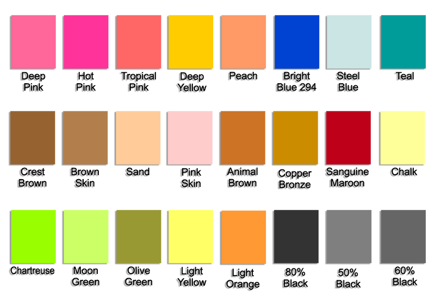 b0ff02fcba These are just a few of the colors available -- you can also specify PMS  colors or send us samples of other colors
